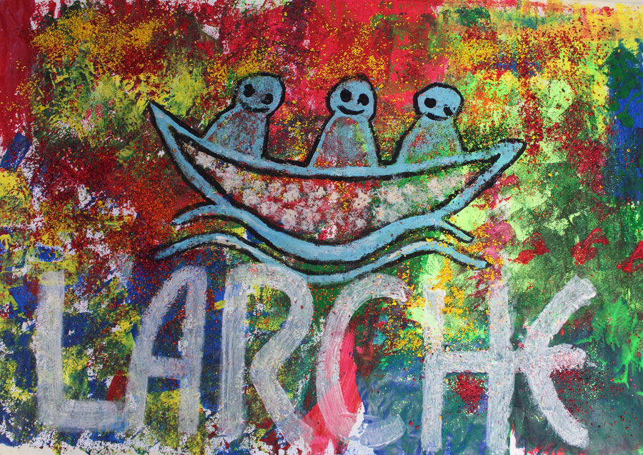 painting of L'Arche logo on abstract background