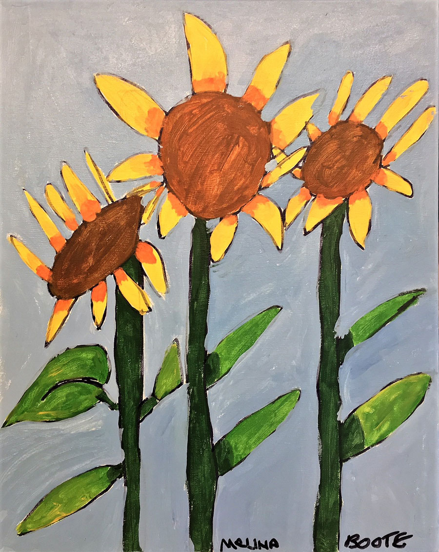 painting of sunflowers by Melina